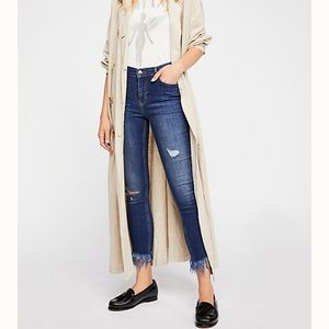 Free People Frayed High Waisted Skinny Jeans